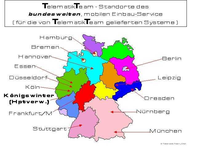 """STANDORTE (sogenannte """"Basis-Städte"""") für den bundesweiten und dank Werkstattfahrzeug stets voll mobilen """"VOR-ORT-EINBAUSERVICE"""" am Standort Ihrer/s KFZ!"""